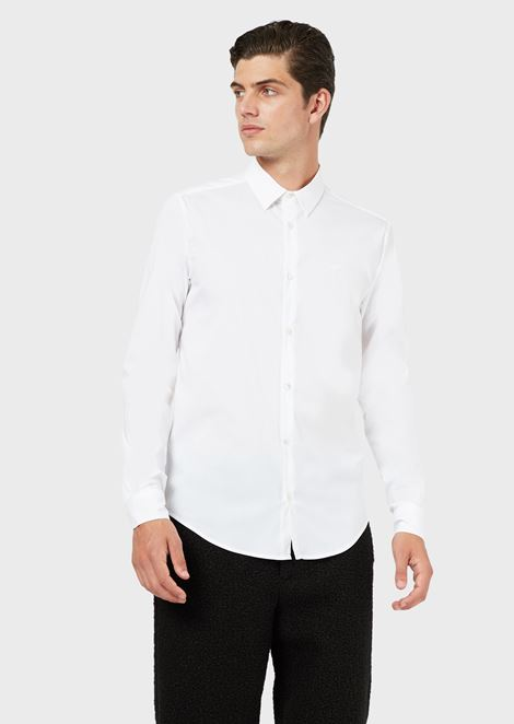 STRETCH COTTON CANVAS SHIRT