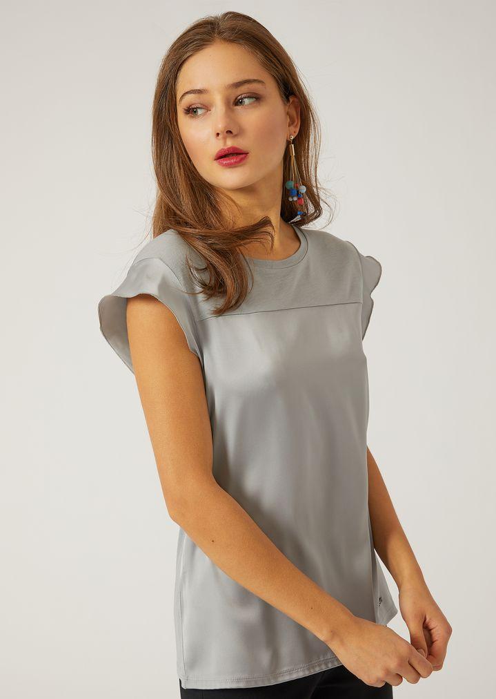 180e8fe509 Short-sleeved satin top | Woman | Emporio Armani