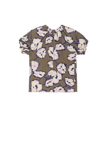 Marni COTTON POPLIN HALF-SLEEVE SHIRT WITH WHISPER PRINT Woman