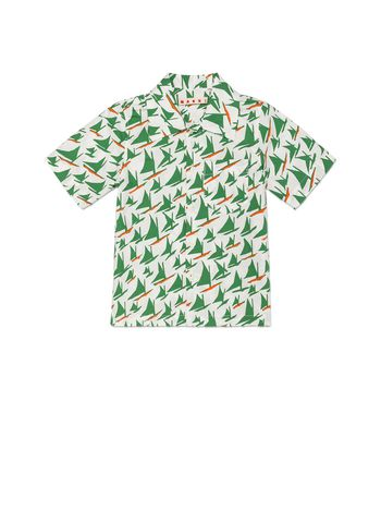 Marni SHIRT IN POPELINE SAIL PRINT Man
