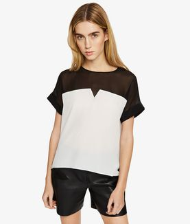 KARL LAGERFELD SILK COLOR BLOCK TOP