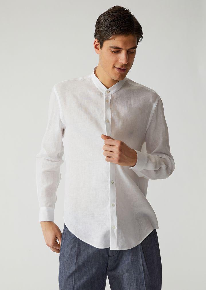 EMPORIO ARMANI Linen canvas shirt Casual Shirt Man f ...