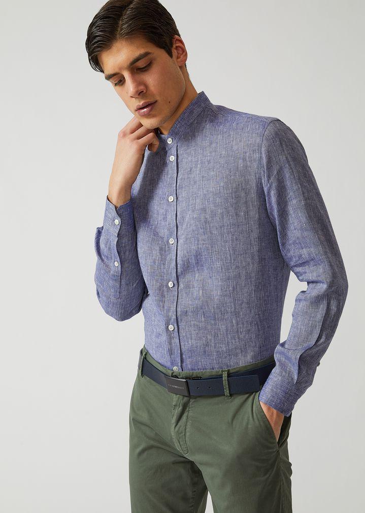 superior quality d4144 de6c5 Camicia in tela di lino | Uomo | Emporio Armani