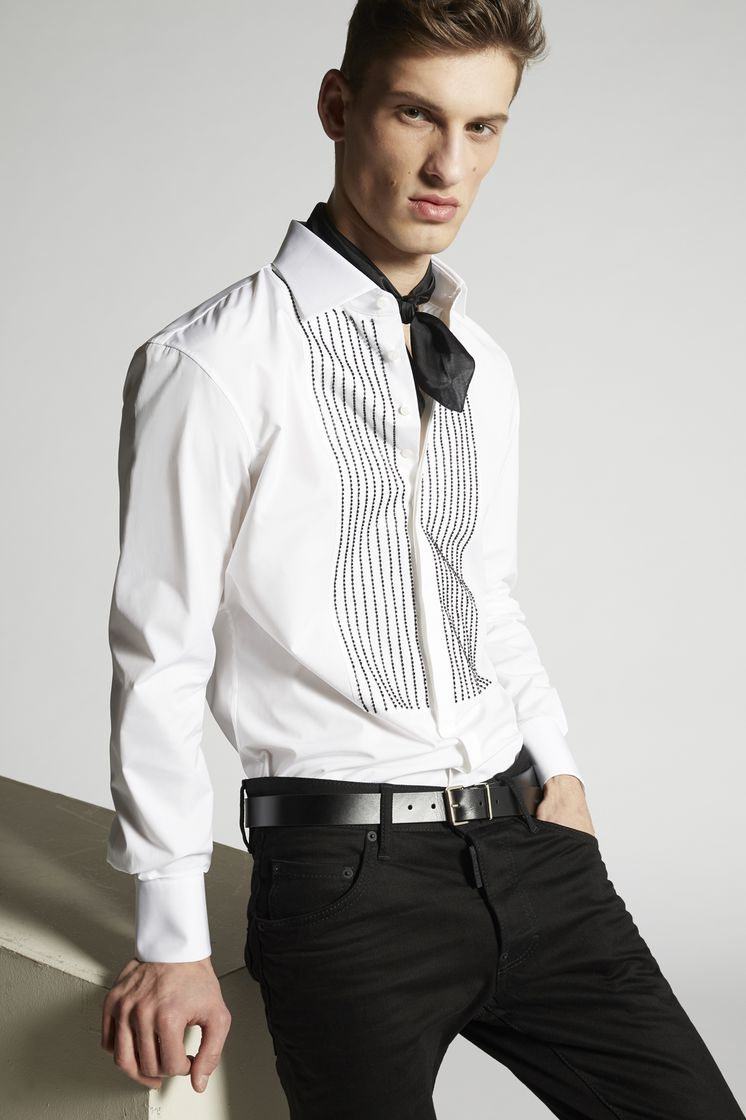 DSQUARED2 Stretch Poplin Regular Tux Shirt  Рубашка Для Мужчин