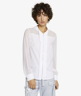 KARL LAGERFELD POPLIN & SILK ZIP DETAIL SHIRT