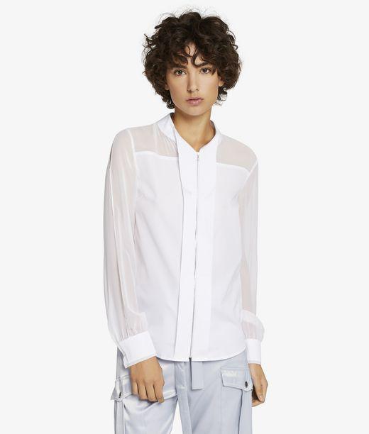 KARL LAGERFELD Camicia con Zip in Popeline e Seta 12_f