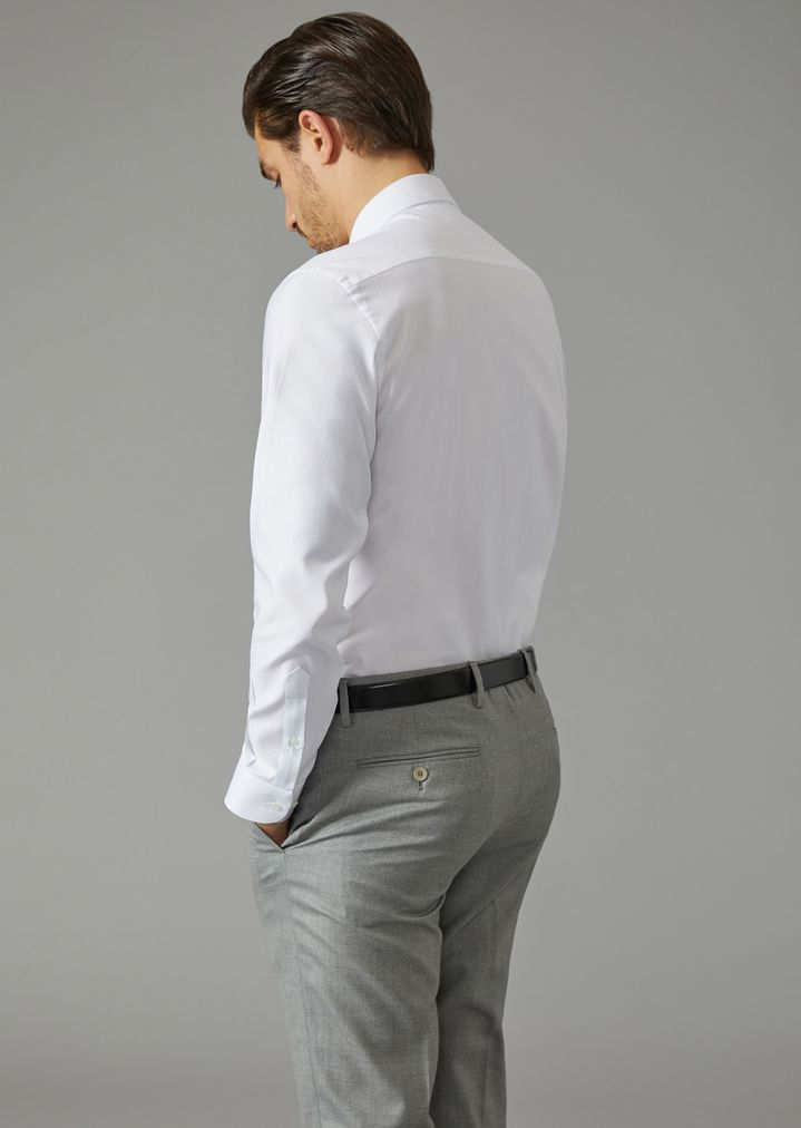 Solid Cotton Shirt With Small Collar Man Giorgio Armani