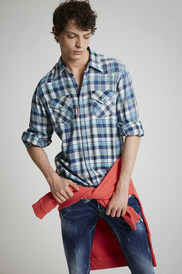 DSQUARED2 Indigo Cotton Check Western Shirt Shirt Man