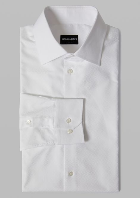 Cotton shirt with small point collar