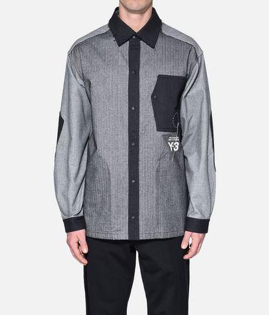 Y-3 長袖シャツ メンズ Y-3 Herringbone Overshirt r