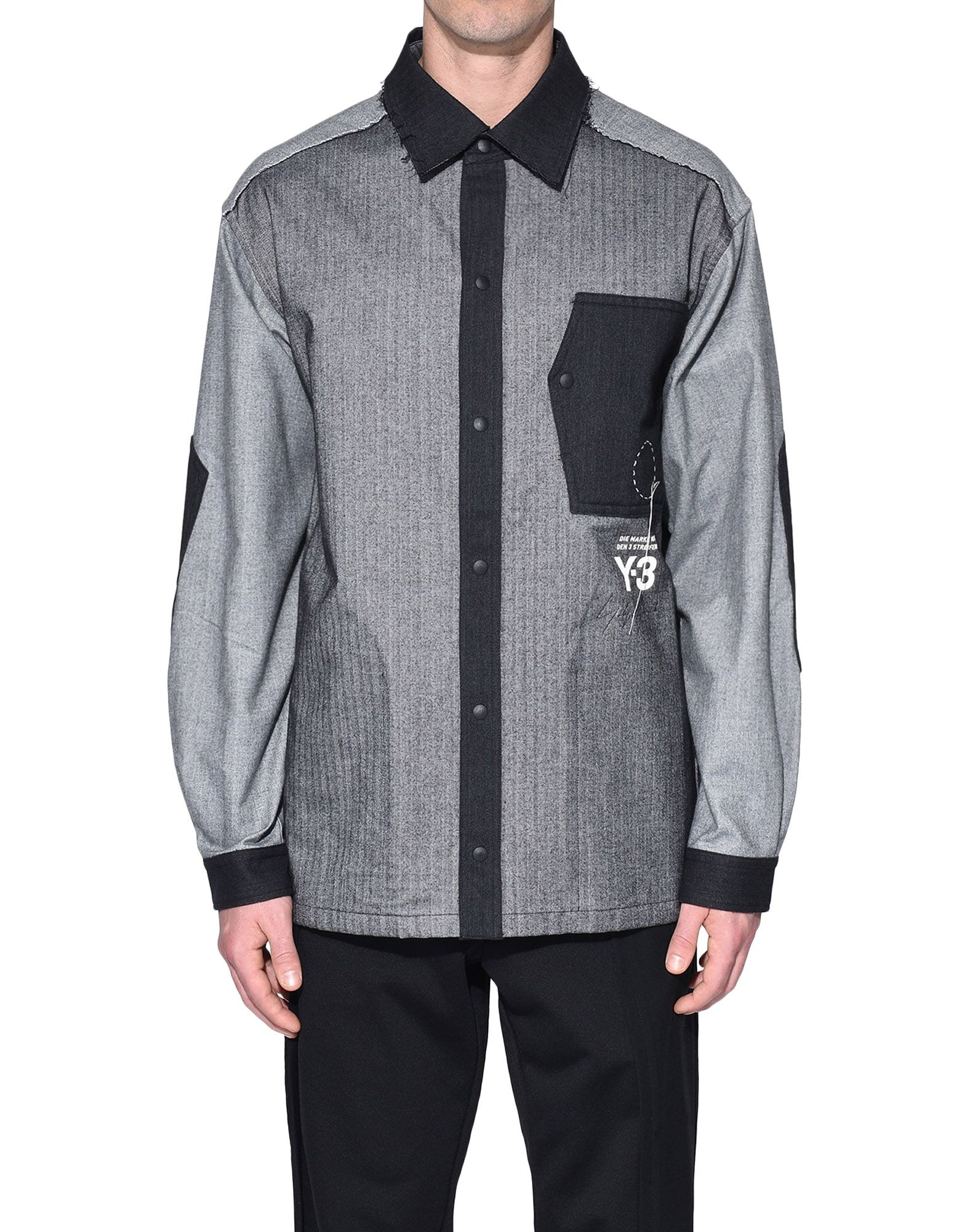 Y-3 Y-3 Herringbone Overshirt Long sleeve shirt Man r