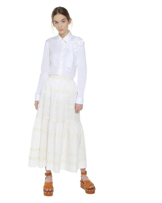 REDValentino Bow detail cotton poplin shirt
