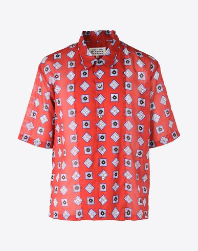 MAISON MARGIELA Printed cotton shirt Short sleeve shirt Man f