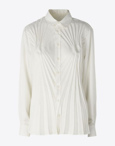 MAISON MARGIELA Pleated twill blouse Long sleeve shirt Woman f