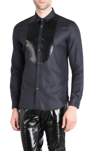 JUST CAVALLI Long sleeve shirt [*** pickupInStoreShippingNotGuaranteed_info ***] Shirt with faux leather plastron f