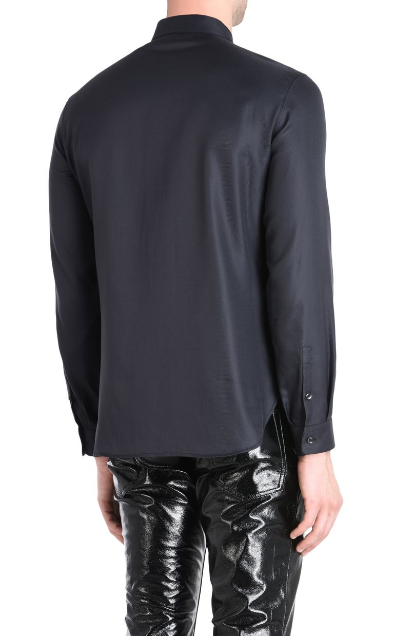 JUST CAVALLI Shirt with faux leather plastron Long sleeve shirt Man d