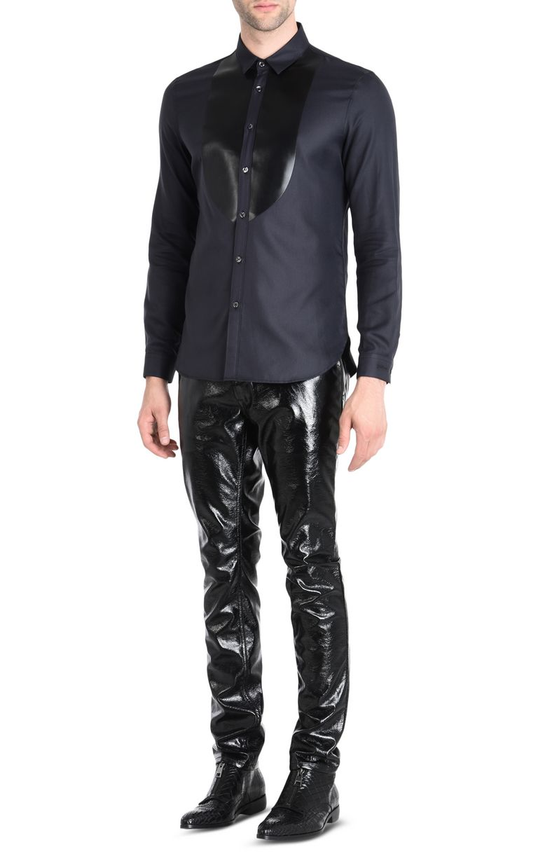 JUST CAVALLI Shirt with faux leather plastron Long sleeve shirt Man r