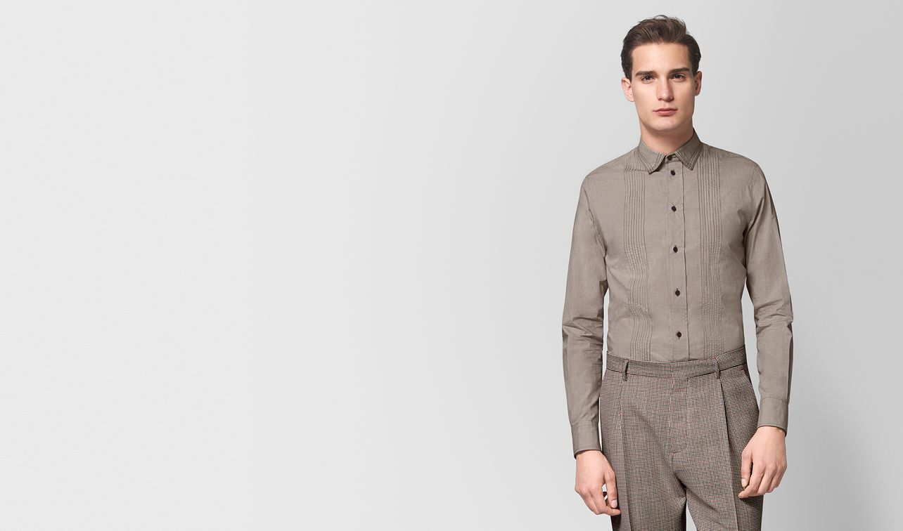 bianco/dark camel cotton shirt landing