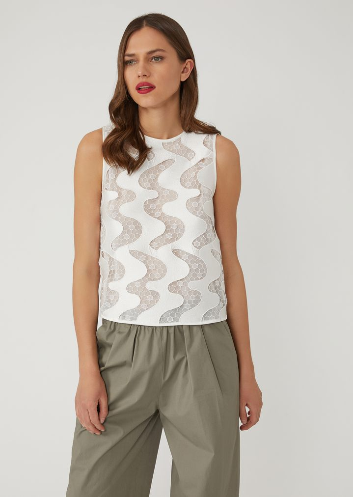 ac33981bd0d8 Macramé top with wave pattern and exposed back