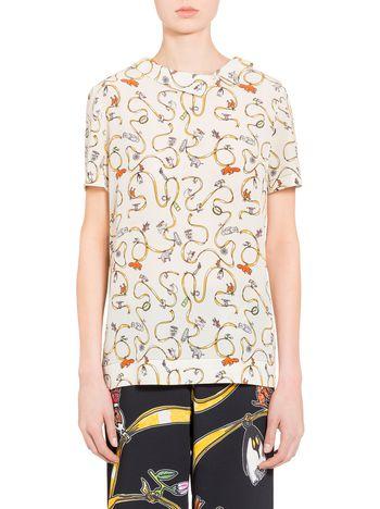 Marni Silk asymmetric shirt with Frank Navin Cracker Jacks print Woman