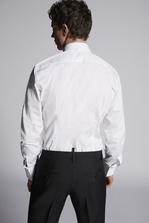 DSQUARED2 Chic Stretch Poplin Spread Collared Rounded Bibed Slim Shirt Long sleeve shirt Man