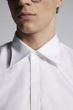 DSQUARED2 Cotton Poplin Spread Collared Slim Shirt Long sleeve shirt Man