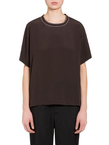 Marni Shirt in washed crepe with hanging threads Woman