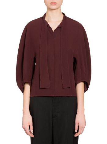Marni Blouse in crepe envers satin with bow-tie Woman