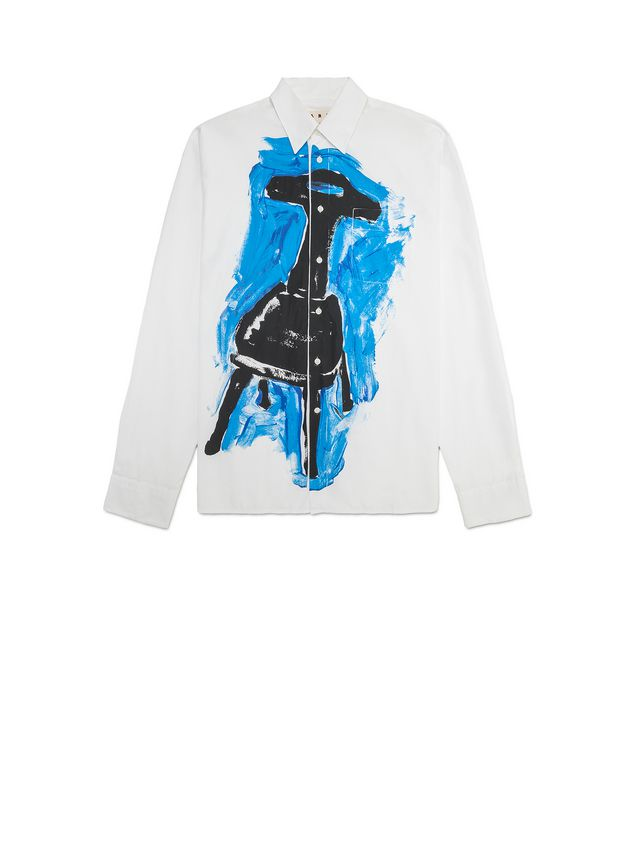 Marni Poplin shirt with Frank Navin print and breast pocket Man - 2