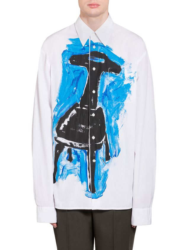 Marni Poplin shirt with Frank Navin print and breast pocket Man - 1