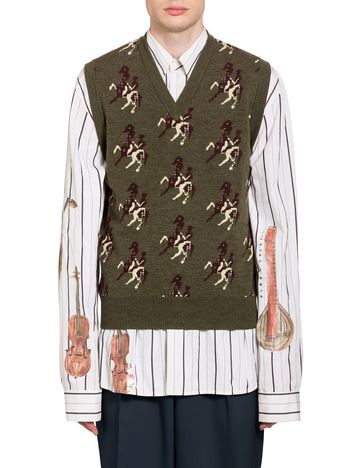 Marni Vest in virgin wool with knight motif Man
