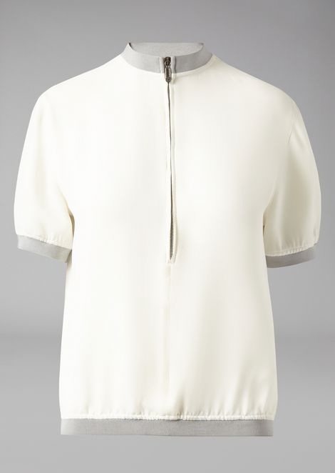 Pure silk shirt with contrast knit trims