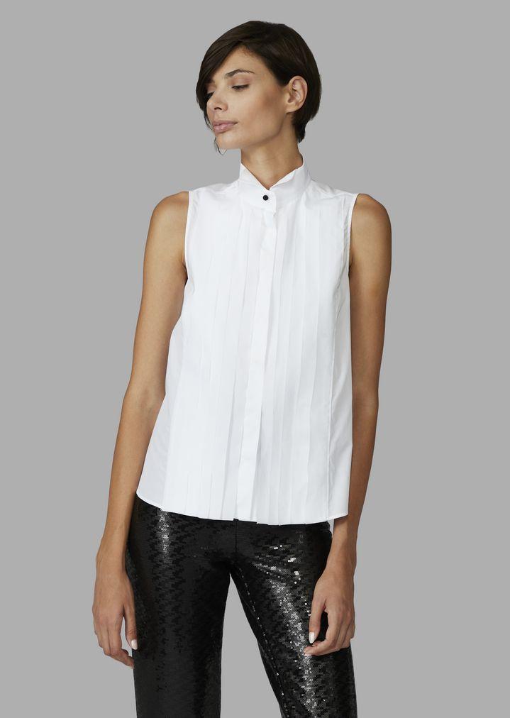 Camisa sin mangas con cuello tipo esmoquin y plisado con efecto corbatín  e442a6a84043c