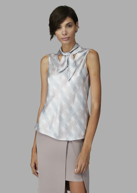 Checked silk satin top with knot at neck