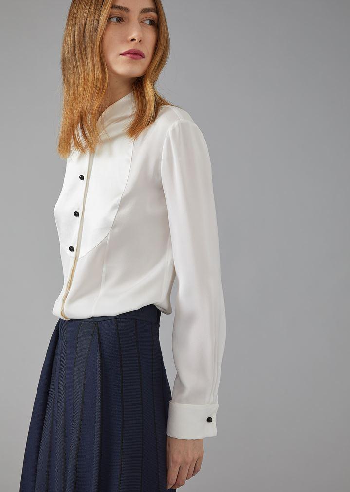 2c538d0510b Silk twill dinner shirt with plastron | Woman | Giorgio Armani