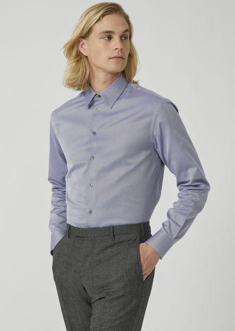 Modern fit shirt in herringbone chevron pattern pure cotton