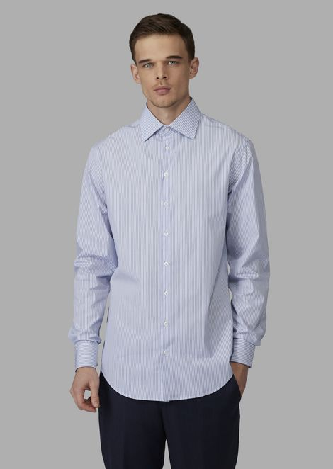 Regular-fit cotton shirt with pinstripe pattern