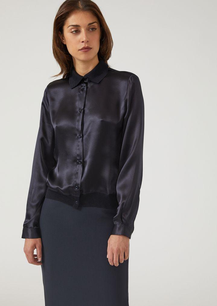 huge discount e5795 33332 Camicia in raso di seta con fondo elasticizzato   Donna ...