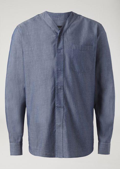V-neck shirt in cotton denim