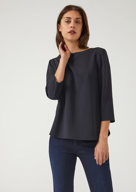 Flowing fabric blouse with boat neck