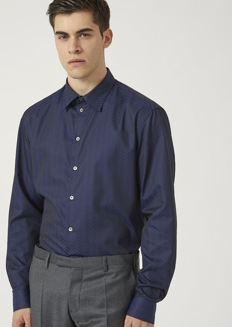 Modern fit shirt in geometric pure cotton jacquard