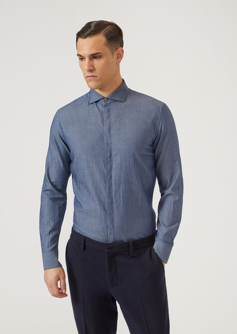 Pure cotton denim-effect shirt