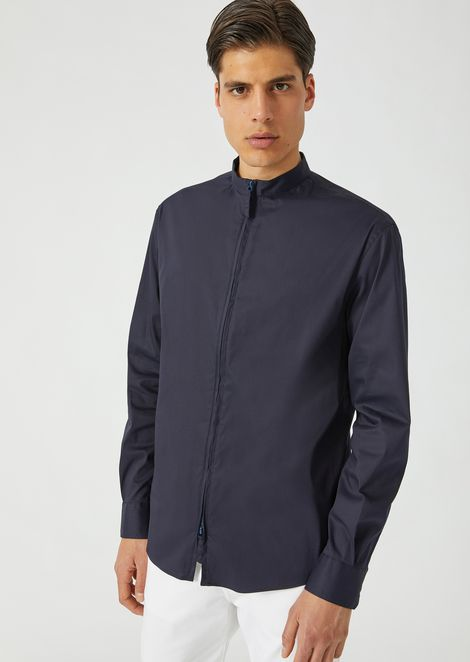 Slim fit stretch twill shirt with full zip collar