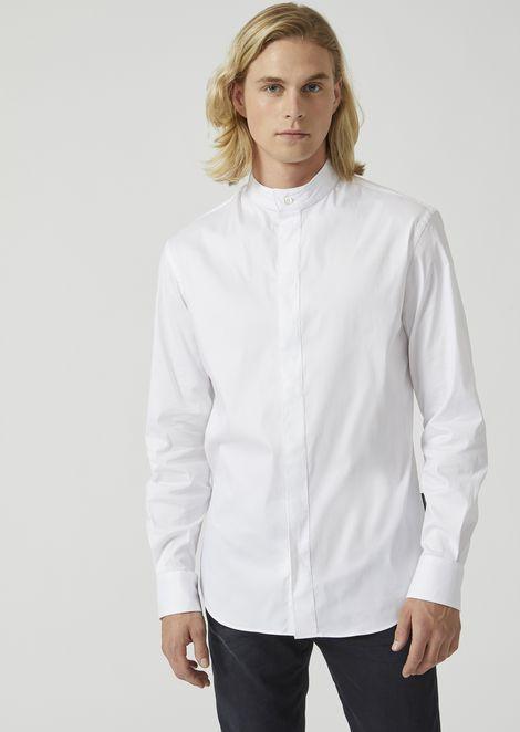 Slim fit stretch twill shirt with a Mandarin collar