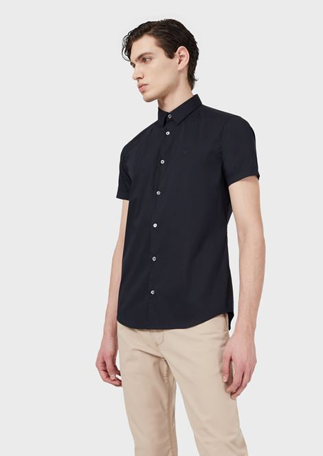 Slim fit poplin short-sleeved shirt