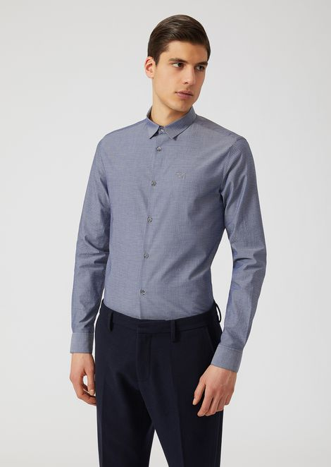 Modern fit cotton shirt with micro-geometric pattern