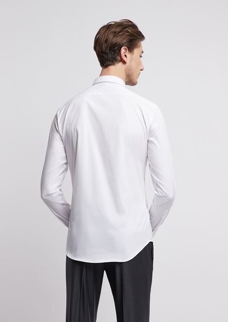 Shirt in stretch cotton with small collar and hidden closure