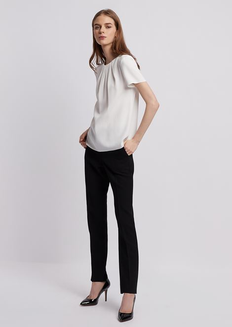 Cady blouse with pleated neckline