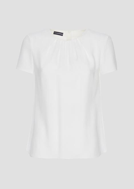 Блузка из кади с плиссированным вырезом
