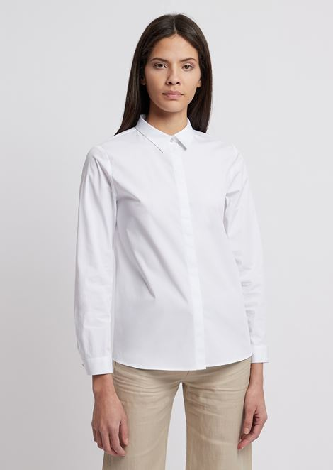 Crêpe de chine silk shirt with concealed buttons